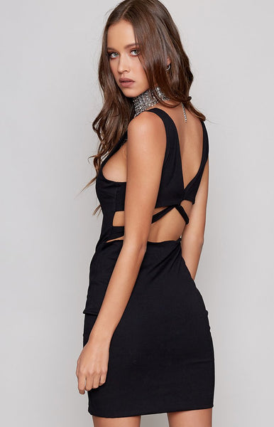 Entwined Mini Dress Black
