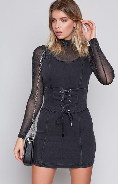 MinkPink Corset Denim Dress Black