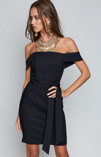 Bryce Off Shoulder Dress Black
