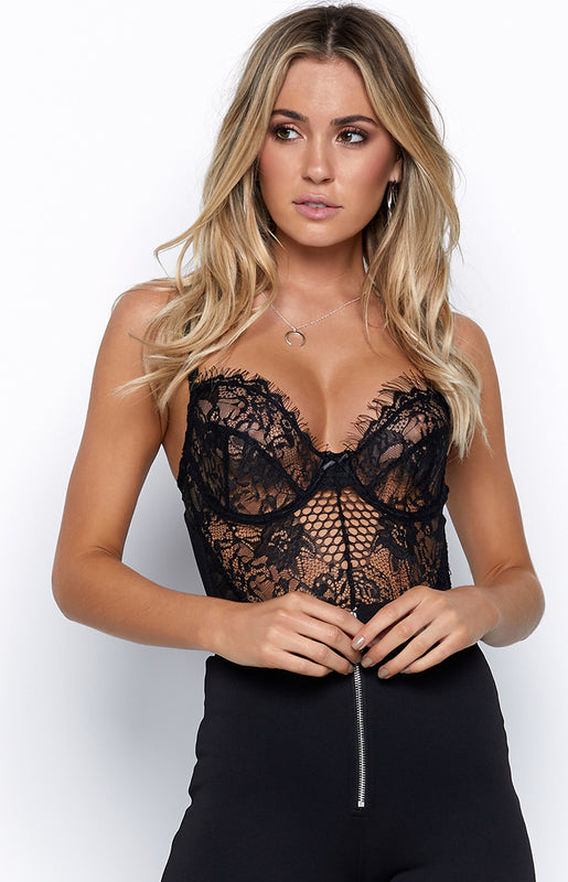 Allure Lace Bodysuit Black