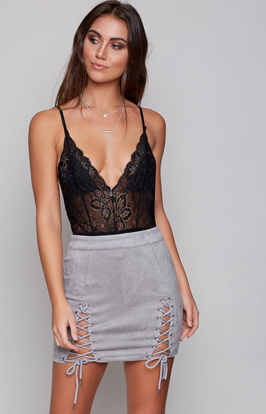 Free Spirit Lace Bodysuit Black