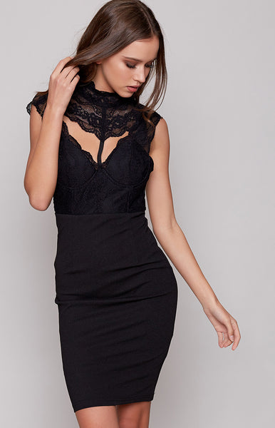 Nightingale Lace Mini Dress Black
