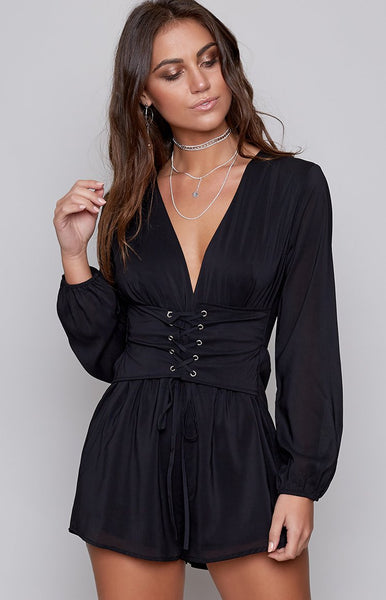 Star Child Laced Playsuit Black