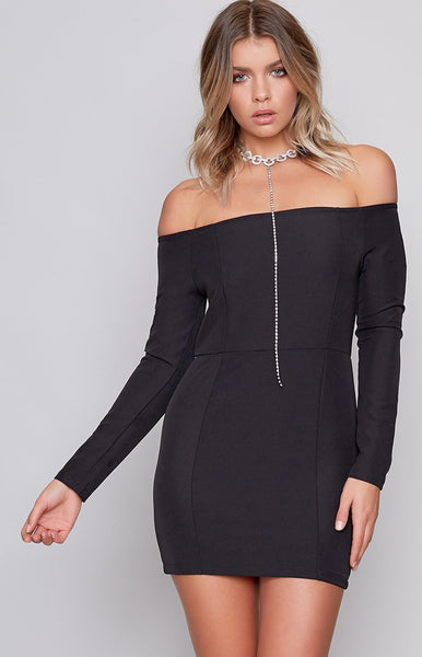Essence Off Shoulder Dress Black