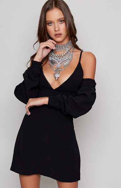 Izzy Cold Shoulder Dress Black