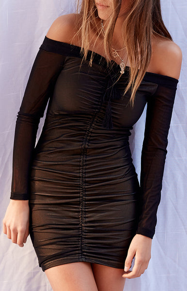Marilyn Off Shoulder Mini Dress Black Mesh