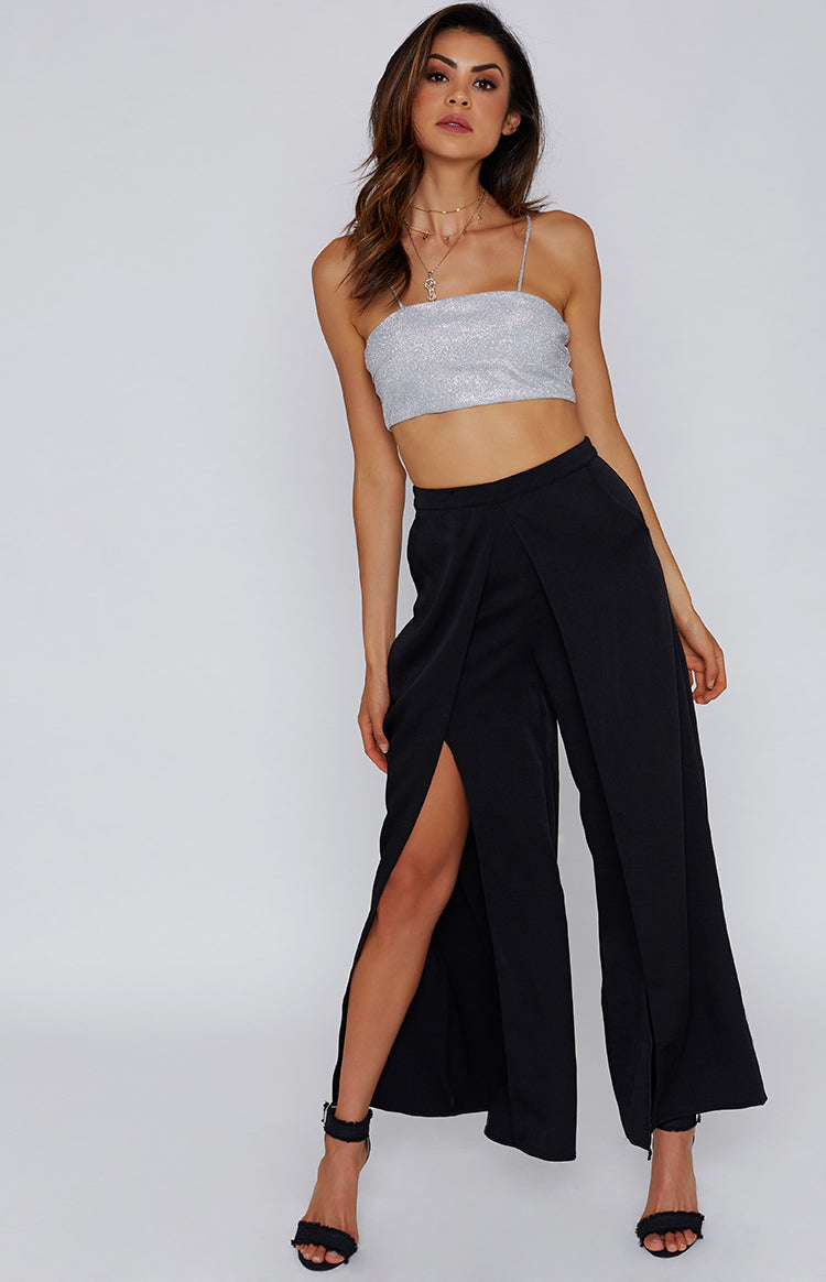 Marigold Split Leg Pants Black