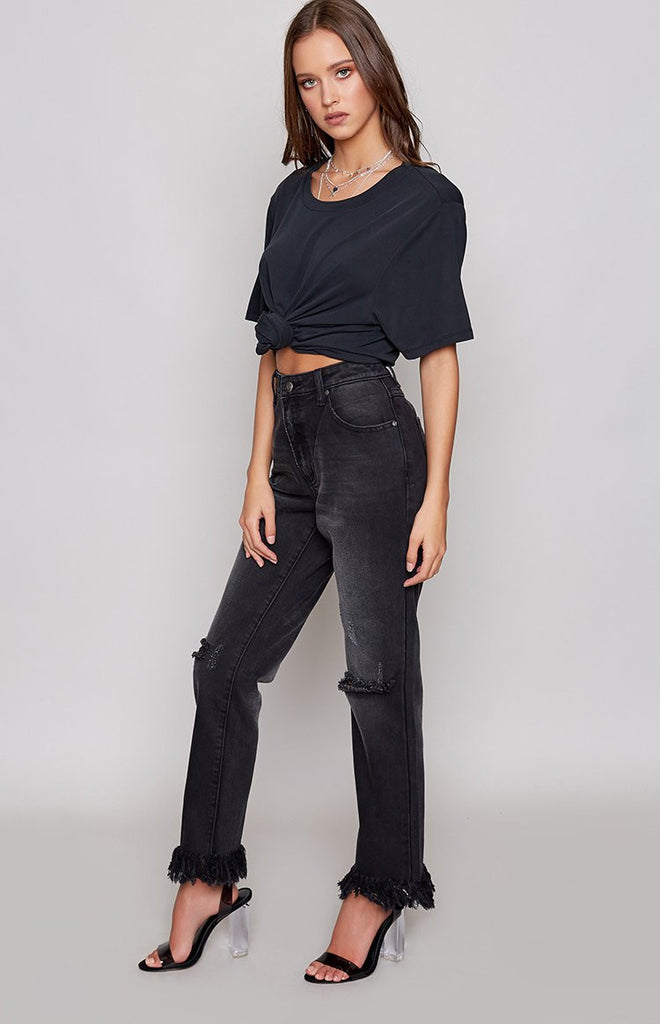 MinkPink Dark Days Cut Off Jean