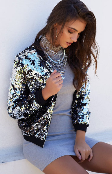 Walk It Out Sequin Bomber Silver