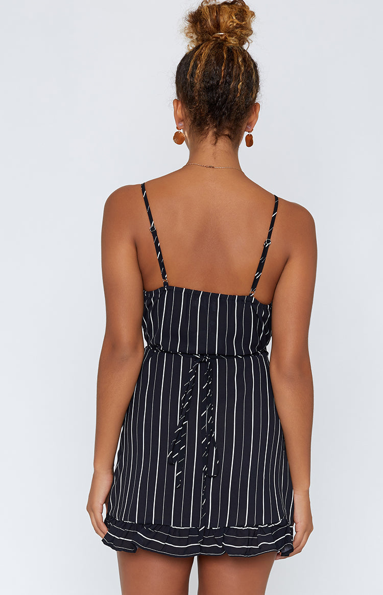 Serafina Wrap Dress Black Stripe