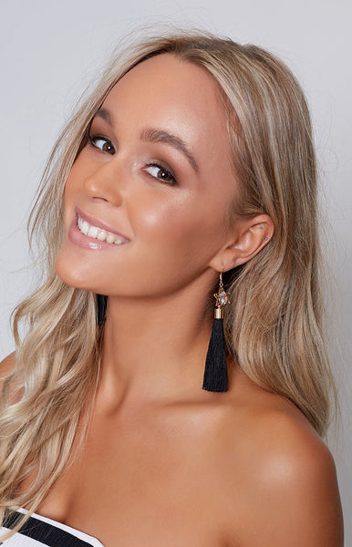 Intergalactic Tassel Earrings Black
