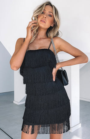 Quinn Tassel Dress Black