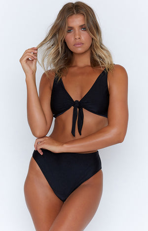 9.0 Swim Sardinia Tie Up Bikini Top Metallic Black
