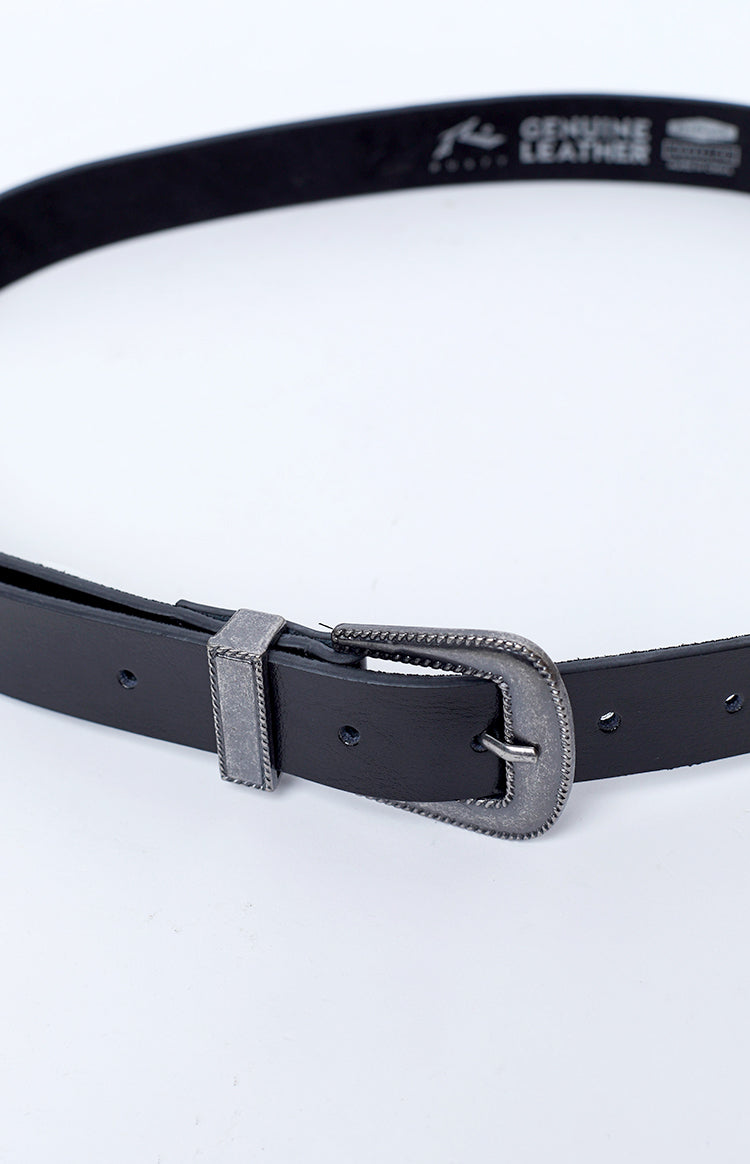 Rusty Requiem Leather Belt Black