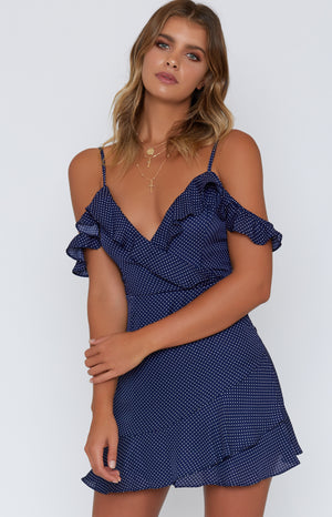 Megan Dress Navy Polka