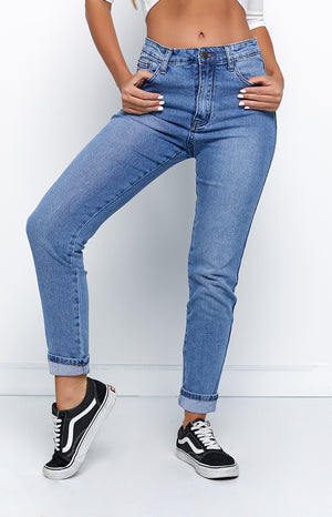 Chance Encounter High Waist Girlfriend Jeans Denim