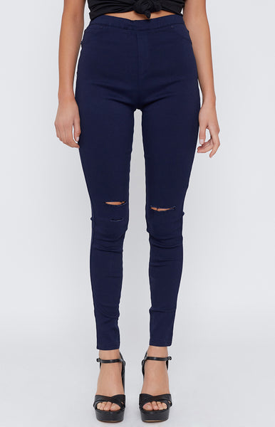 Bad Habit Ripped Jegging Navy