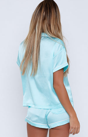 Amour Button Up Sleep Shirt Baby Blue