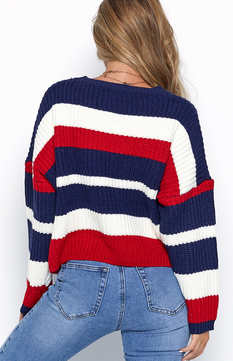 Anya Jumper Red & Navy Stripe