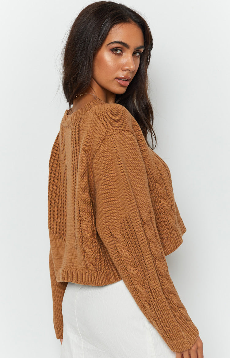 Georgie Chunky Cable Sweater Tan