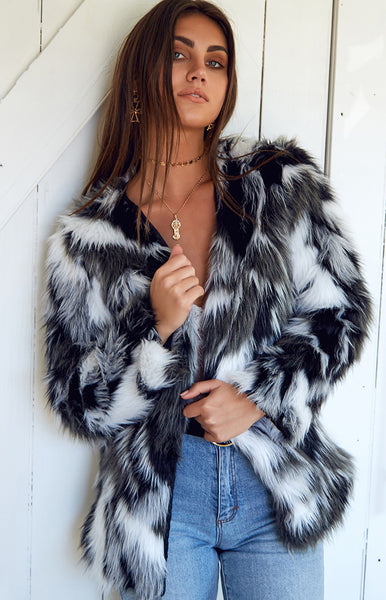 Sable Fur Coat Black & White