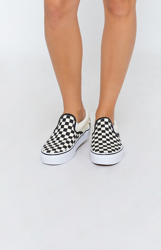 d5d7f52a14 Vans Classic Slip On Platform Sneakers Checkerboard Black   White –  Beginning Boutique