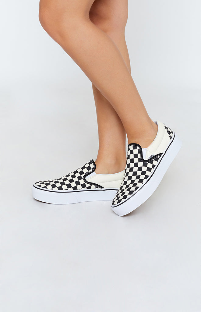e9e132c2d772c7 Vans Classic Slip On Platform Sneakers Checkerboard Black   White –  Beginning Boutique