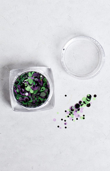 Confetti Team Colours Black, Green and Purple Glitter Pot