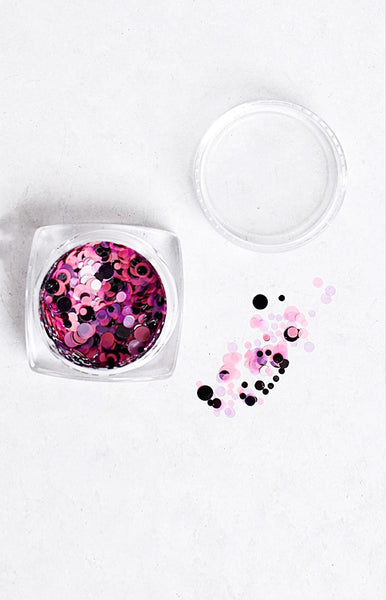 Confetti Team Colours Black, Pink and Purple Glitter Pot
