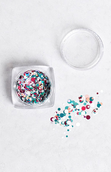 Confetti Team Colours Teal, White and Purple Glitter Pot