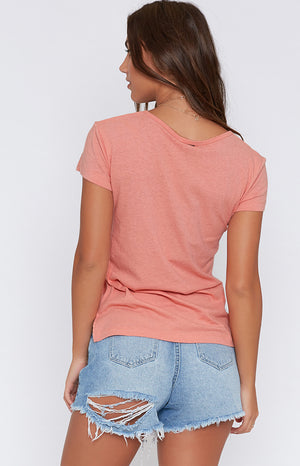 Rusty Bare Scoop Neck Tee Sunset Coral