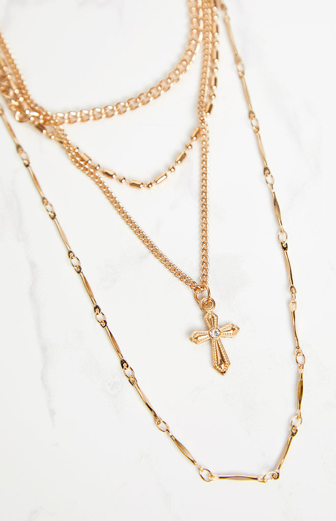 Eclat Praise Layered Necklace Gold