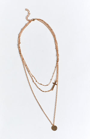 Eclat Cade Layered Cross Necklace Rose Gold