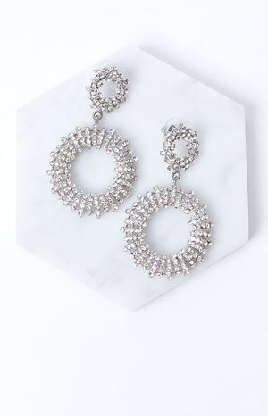 Eclat Brydie Diamante Earrings Silver