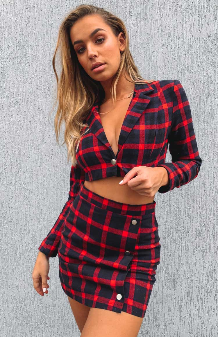 Dionne Cropped Jacket Red Check