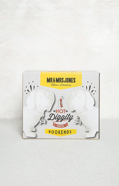 Mr & Mrs Jones Hot Doggity Dog Bookends White