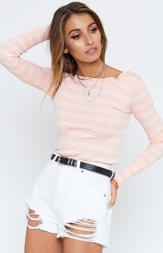 Candid Ribbed Top Pink Stripe