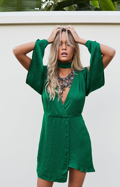 Iala Cold Shoulder Dress Emerald Green