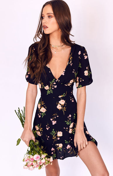 Peggy Mini Dress Black Floral