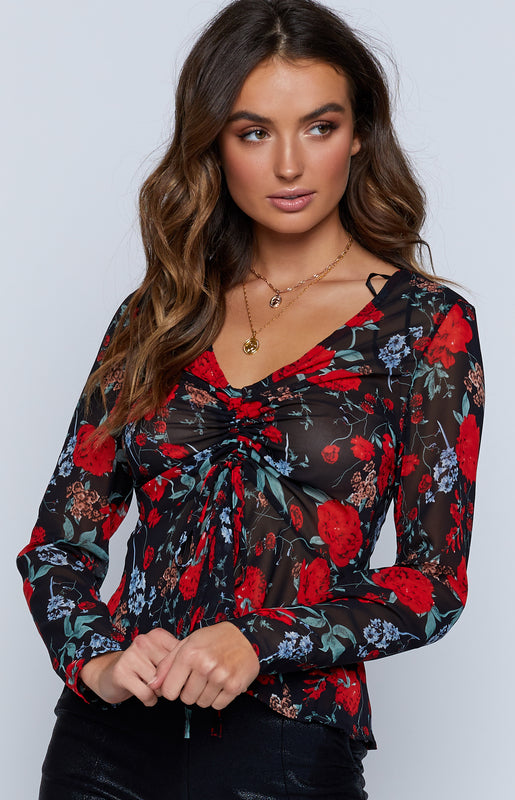 Breath Of Life Top Black Floral