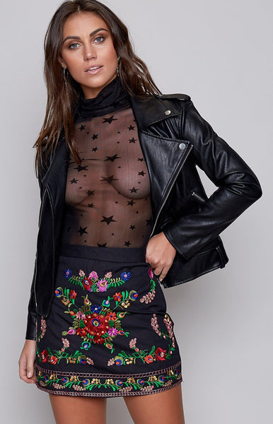 Banksia Embroidered Mini Skirt Black