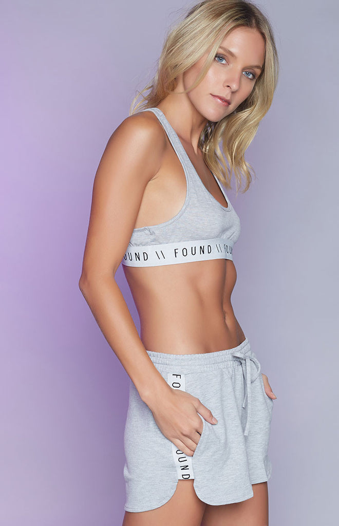 Found Basics Sideline Crop Grey