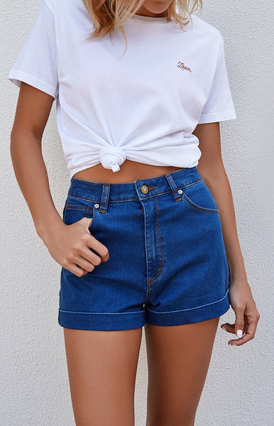Abrand High Relaxed Short 70s Blue