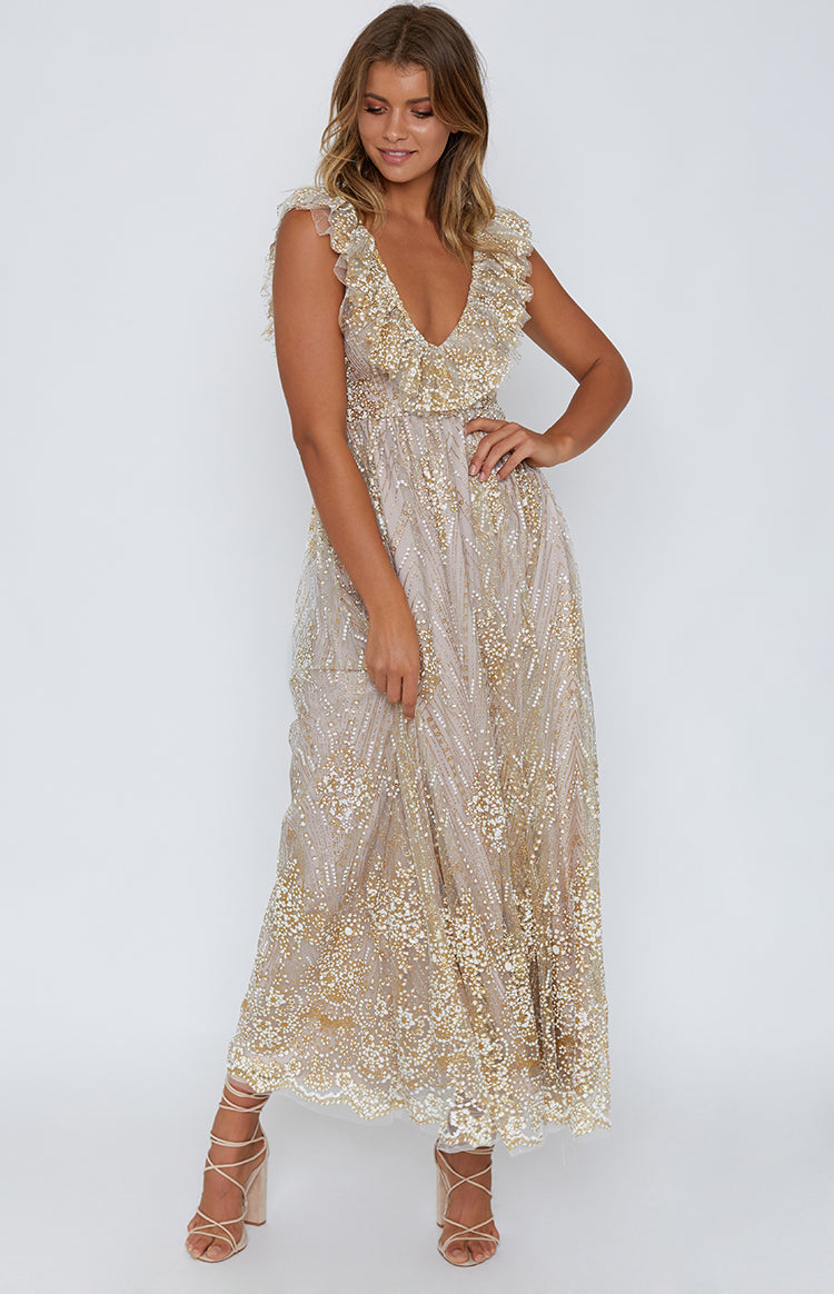 Belle of the Ball Formal Dress Champagne Glitter