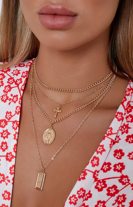 Hallelujah Layered Necklace Gold