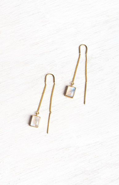 Bahagia Boheme Drop Earrings Gold Moonstone