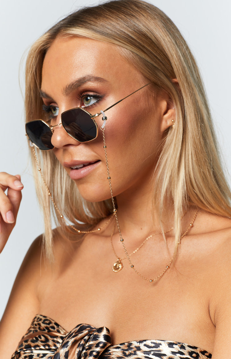 Eclat Volta Beaded Sunglasses Chain Gold