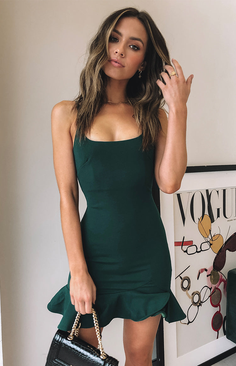Good Vibes Dress Forest Green