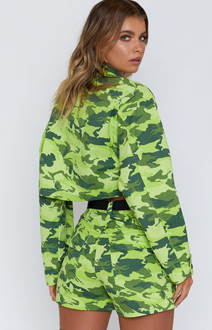Strike Out Cropped Jacket Lime Green Camo