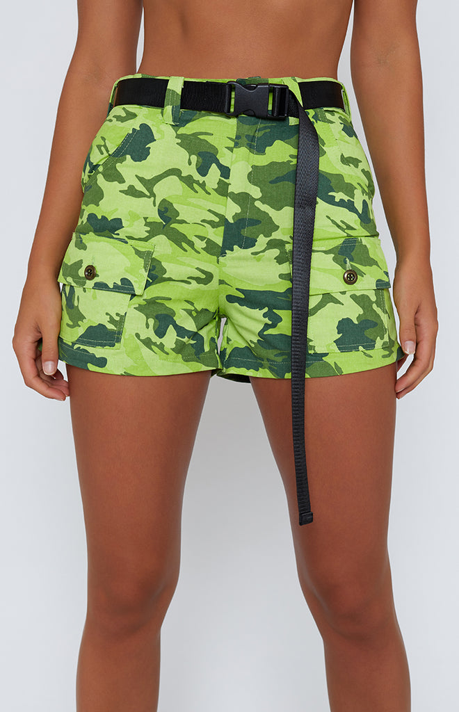 Solardo Safari Shorts Lime Green Camo